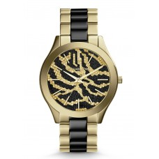 Michael Kors Women's Slim Runway Black and Gold-Tone Stainless Steel Bracelet Watch